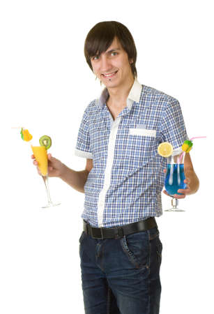 Young bartender with alcohol cocktail drink isolated photo