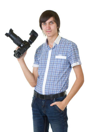 Young man photographer doing photos by digital camera isolated on white background photo