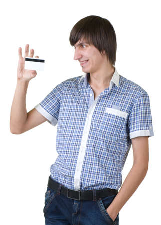 Young man happy holding credit card photo