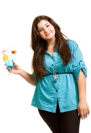 Young beautiful girl with alcohol cocktail isolated on white background photo