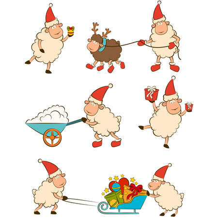 Christmas funny sheep with gifts. Vector
