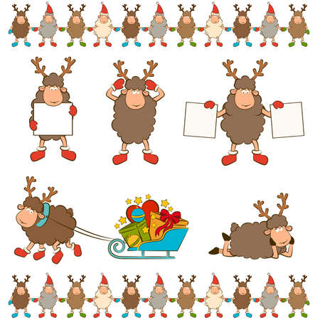 Christmas funny deer. Stock Vector - 12030802