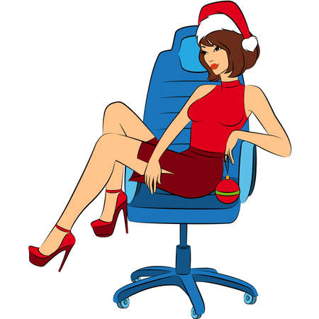Beautiful business woman in Santa Claus clothes sits in a chair in office. Vector Vector