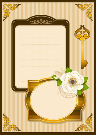 Vintage Flowers with lace ornaments on background.  photo