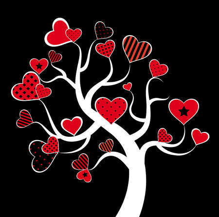 Valentine love tree leaf from hearts photo