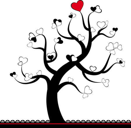 Valentine love tree leaf from hearts. Stock Photo - 12047588