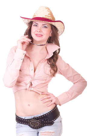 Pretty girl with cowboy hat on white background photo