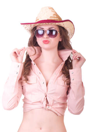 Pretty girl with cowboy hat on white background Stock Photo