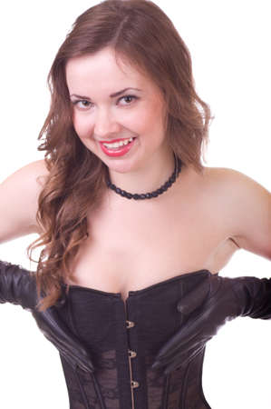 Sexy young woman in black leather corset photo