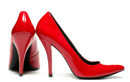 high heel shoes: Sexy red shoes isolated on white background.