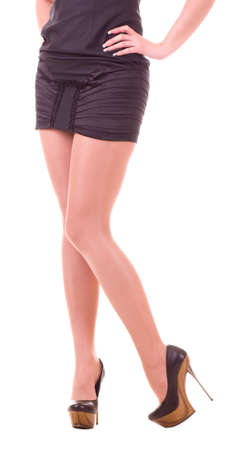 Sexy womanish leg in black shoe isolated  Stock Photo - 12080749