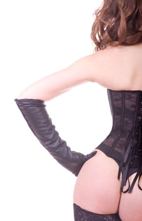 Sexy young woman in black corset photo