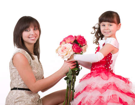 Mother with daughter with pink roses  photo