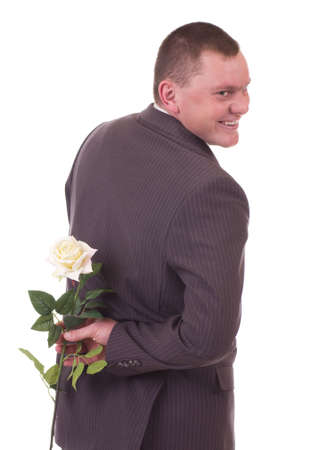 Valentines Man with flowers isolated on white background. photo