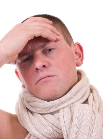 Sick young man having a headache over Stock Photo - 12521986