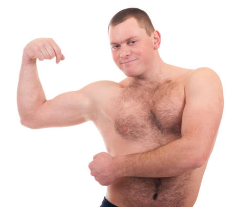 Young man with muscular body on white background  photo