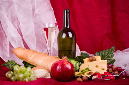 Beautiful composition with wine, grape, cheese and barrel Stock Photo - 12560560