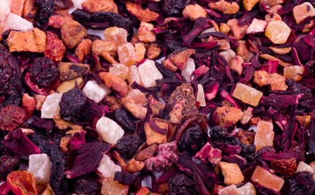 Flower and fruit tea on white background photo