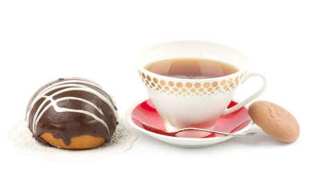 Beautiful tea set with cupcakes on white background Stock Photo - 12560795