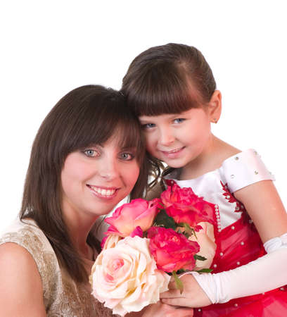 Mother with daughter with pink roses on white background photo