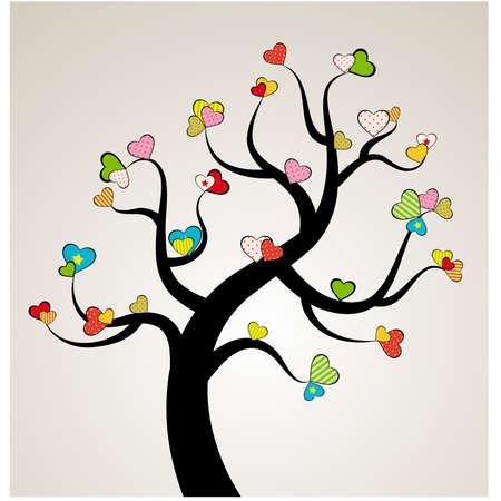 San Valentín, amor, hoja del árbol de los corazones Ilustración de vector