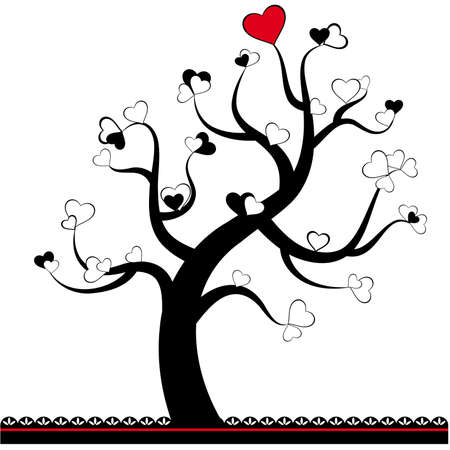 Valentine love tree leaf from hearts Stock Vector - 12986862
