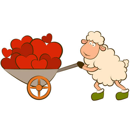 funny love:  cartoon funny sheep holds a heart