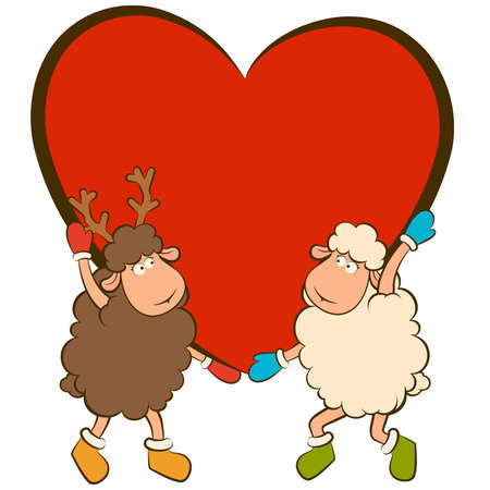 cartoon funny sheep holds a heart Stock Vector - 12986880