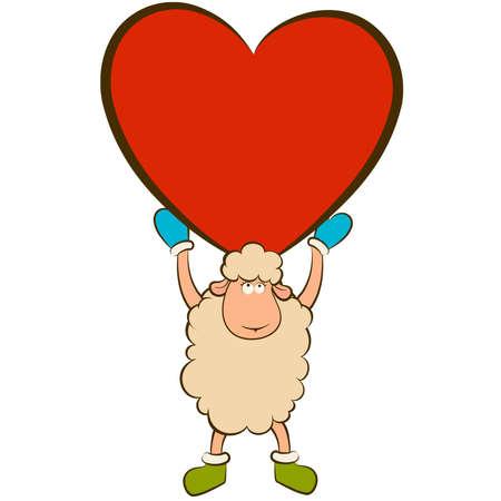 cartoon funny sheep holds a heart Stock Vector - 12986873