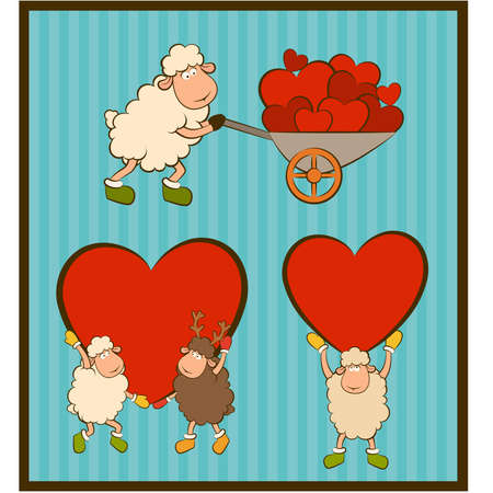 cartoon funny sheep holds a heart  Set Stock Vector - 12986891