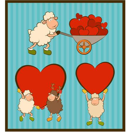 cartoon funny sheep holds a heart  Set Stock Vector - 12986891
