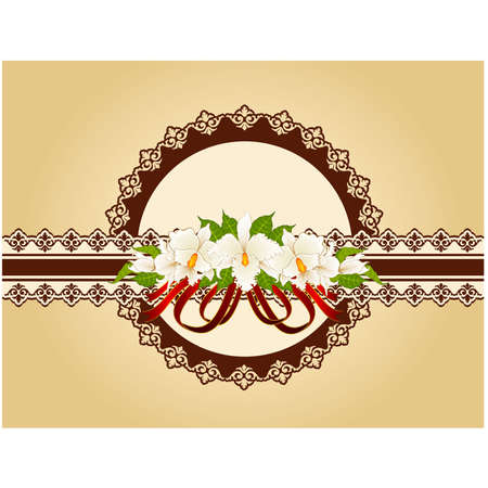 Vintage Flowers with lace ornaments on background    Vector