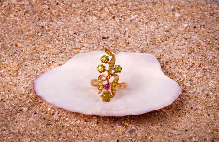 Golden jewelry in shell on sand background photo