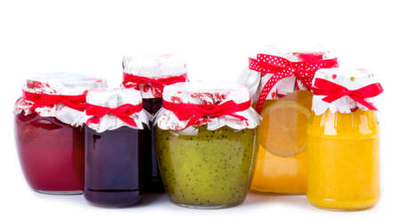 yellov: Jars with jam   cherry, kiwi, lemon, strawberry, orange  Stock Photo