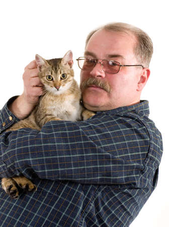 Old man with his cat on white background photo