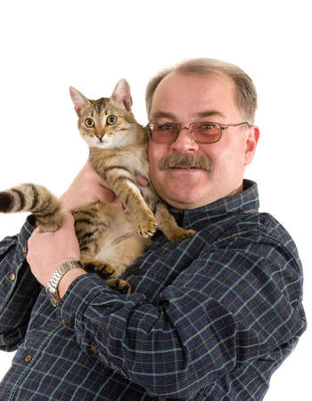 Old man with his cat on white background 스톡 콘텐츠