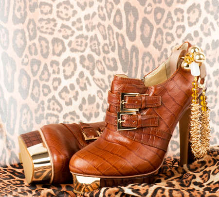 Sexy fashionable shoes with golden jewelry on background Stock Photo - 12880767