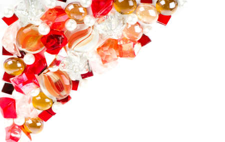 gemstones: Beautiful bright colorful stones and pearl on a white background