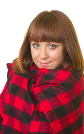 The beautiful young woman in checked plaid on white background  Stock Photo - 13259065