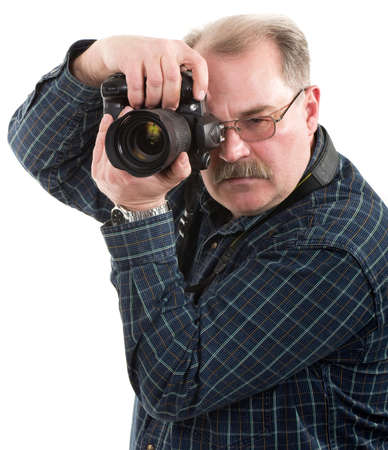 take action: man photographer doing photos by digital camera isolated