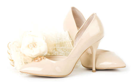 The beautiful bridal accessories and shoes photo