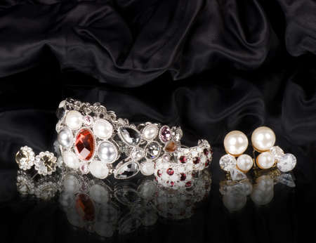 silver jewelry: Silver jewelry on black background
