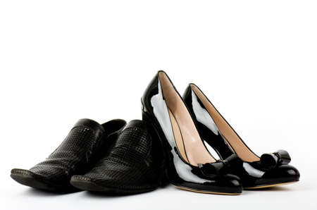 Fashionable male and female shoes isolated on white background  Stock Photo - 12886057