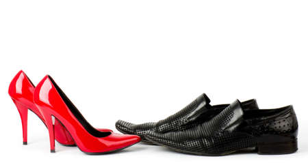 Fashionable male and female shoes isolated on white background  Stock Photo - 12886044