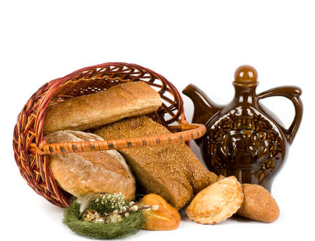 Beautiful bread set in basket and Nest with Easter quail eggs photo