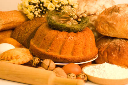 Traditional Easter cake and ingredients photo