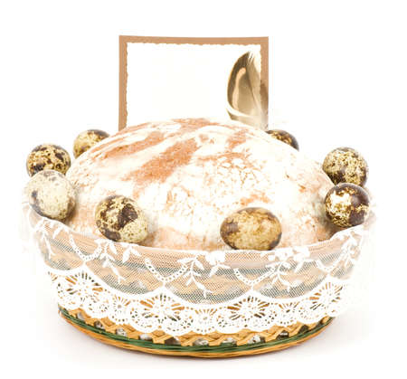 Beautiful bread and Nest with Easter quail eggs photo