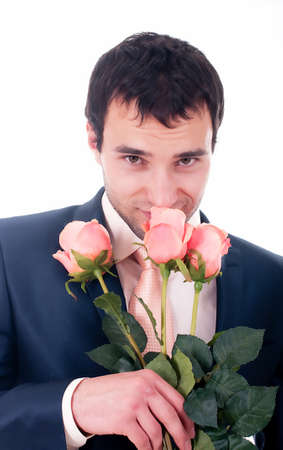 Valentines Man with flowers on white background Stock Photo - 13156652