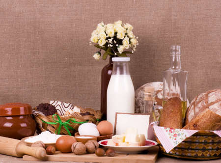 Tasty food ingredients and baking on background with banner add photo