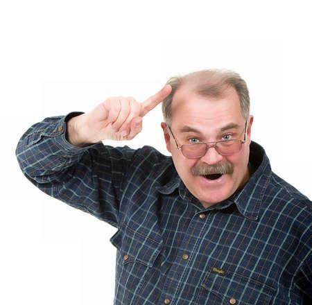 眼鏡の古い男の肖像 写真素材